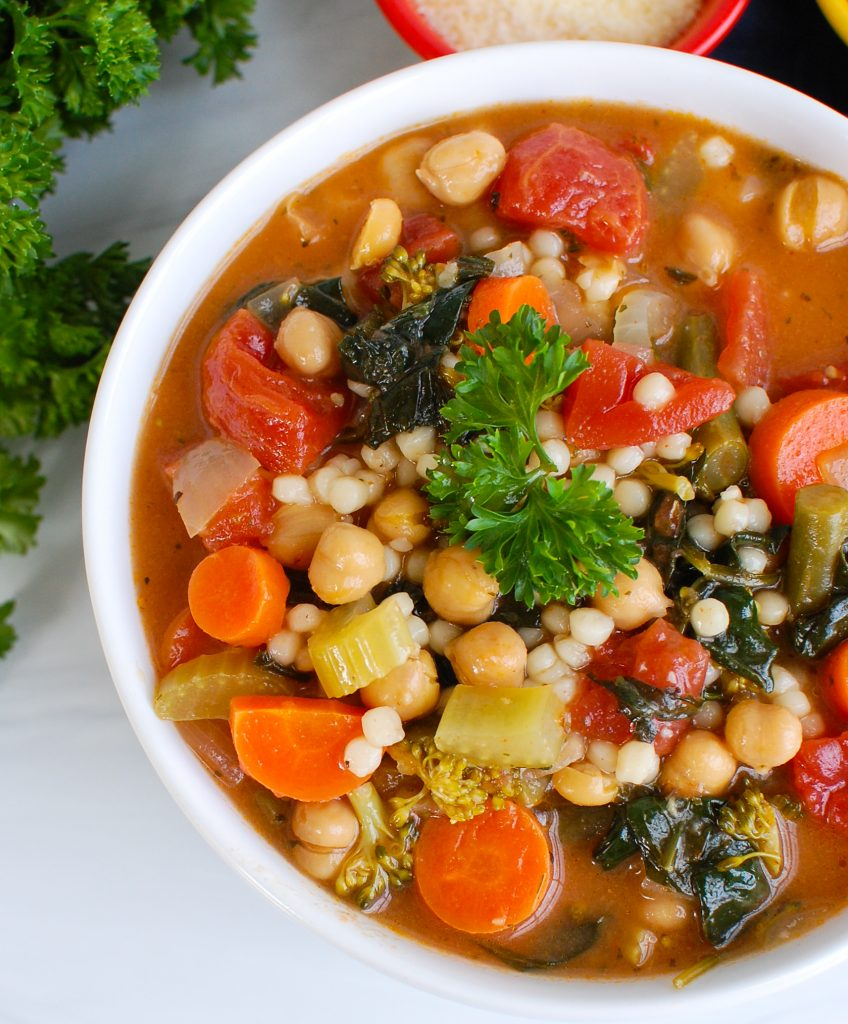 Easy Chickpea Veggie Soup with white bowl