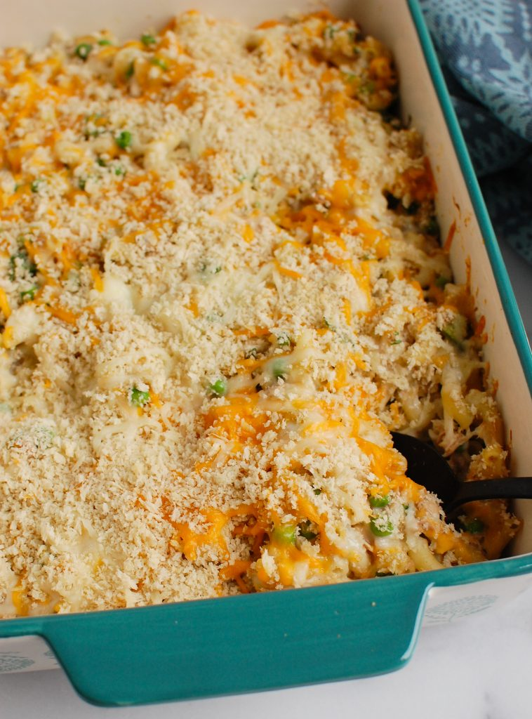 Easy Tuna Noodle Casserole with serving spoon