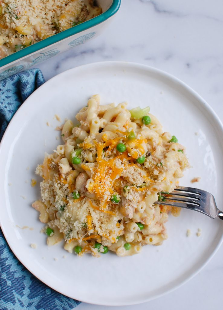 Easy Tuna Noodle Casserole with white plate