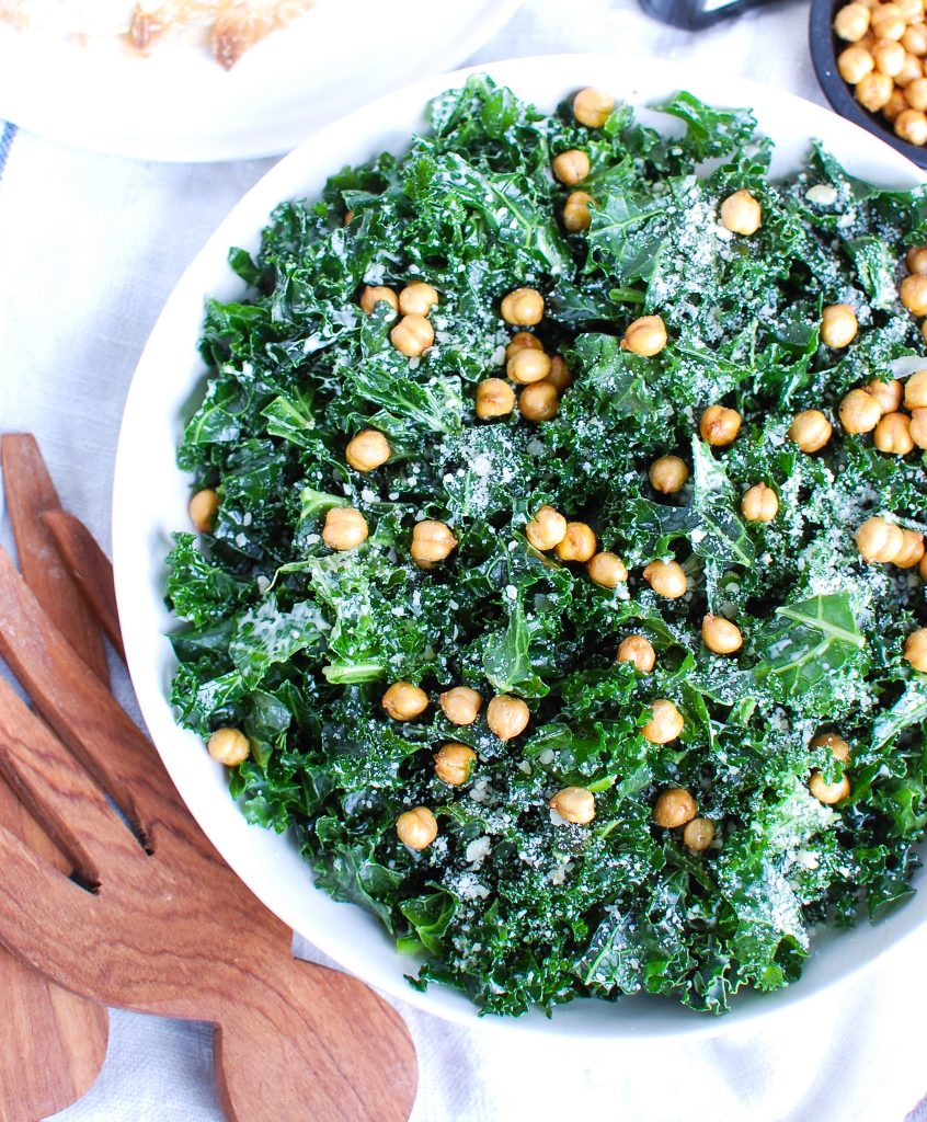 Kale Caesar Salad with cheese