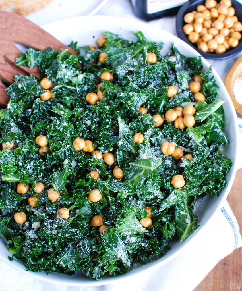 Kale Caesar Salad with chickpeas