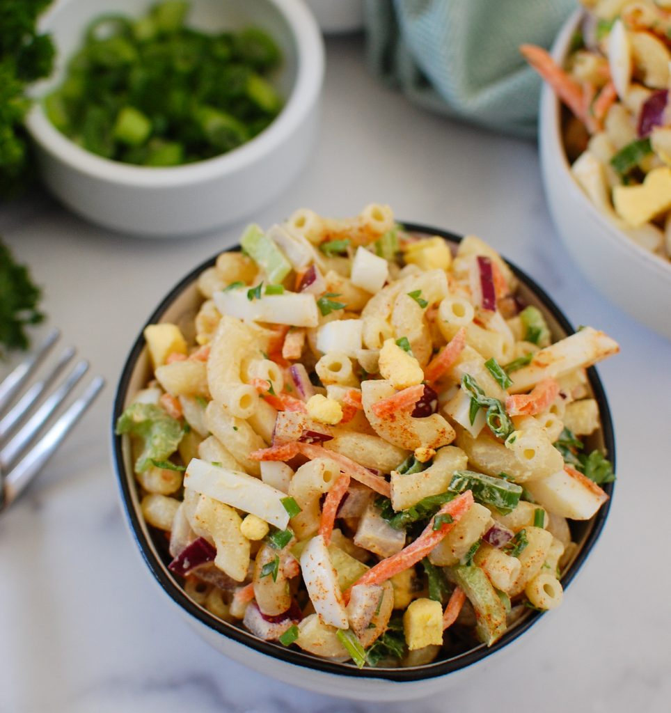 Macaroni Egg Salad in a small bowl