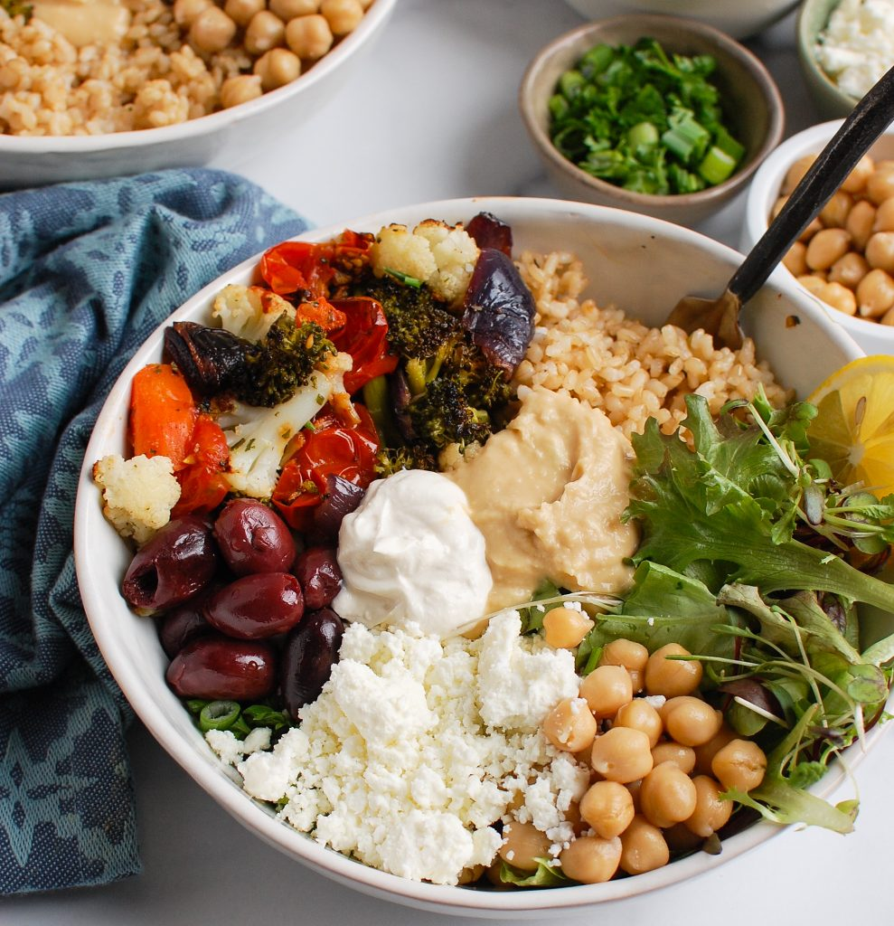 Mediterranean Buddha Bowl with feta cheese