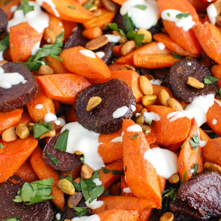 Roasted Carrots and Beets with Tahini with spoon
