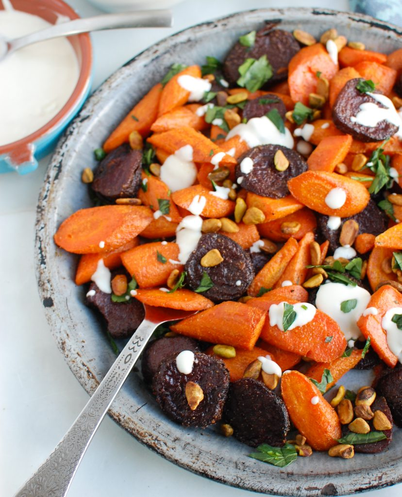 Roasted Carrots and Beets with Tahini on plate