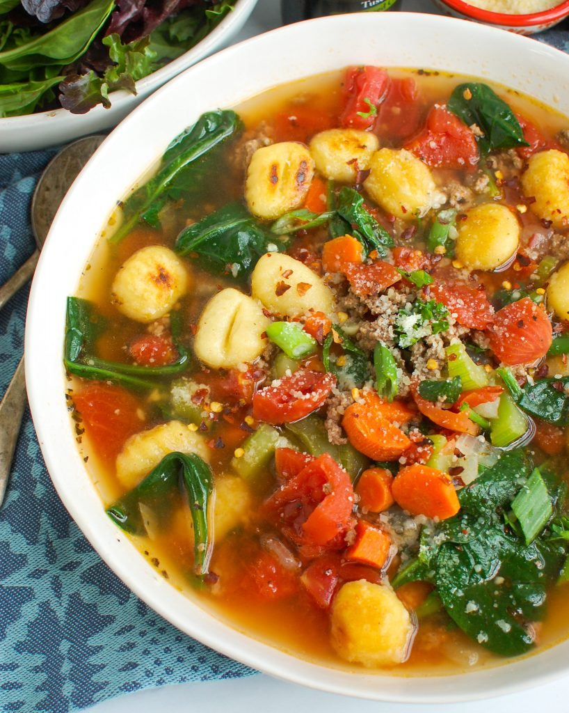 Easy Gnocchi Soup with spinach