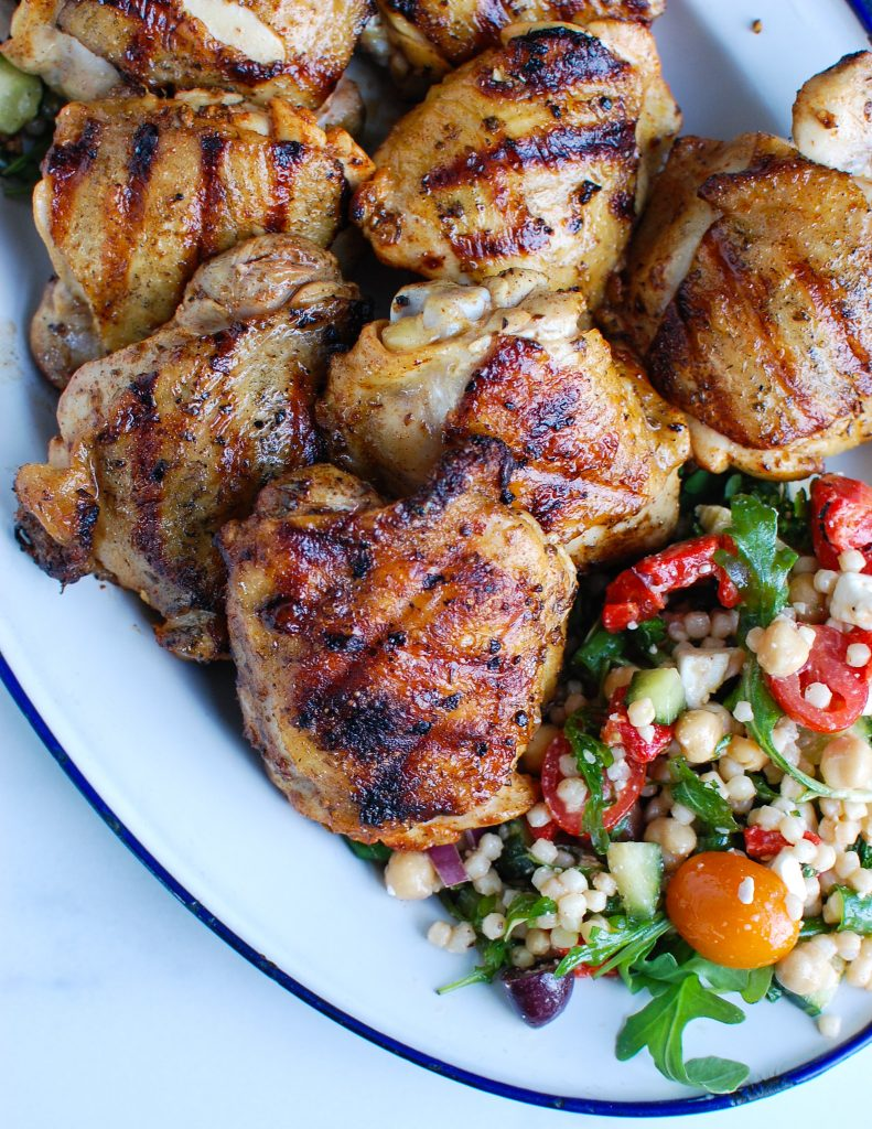 Grilled Greek Chicken Thighs on platter