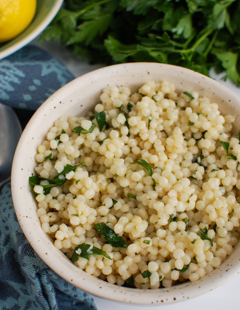 Lemon Herb Couscous in white bowl