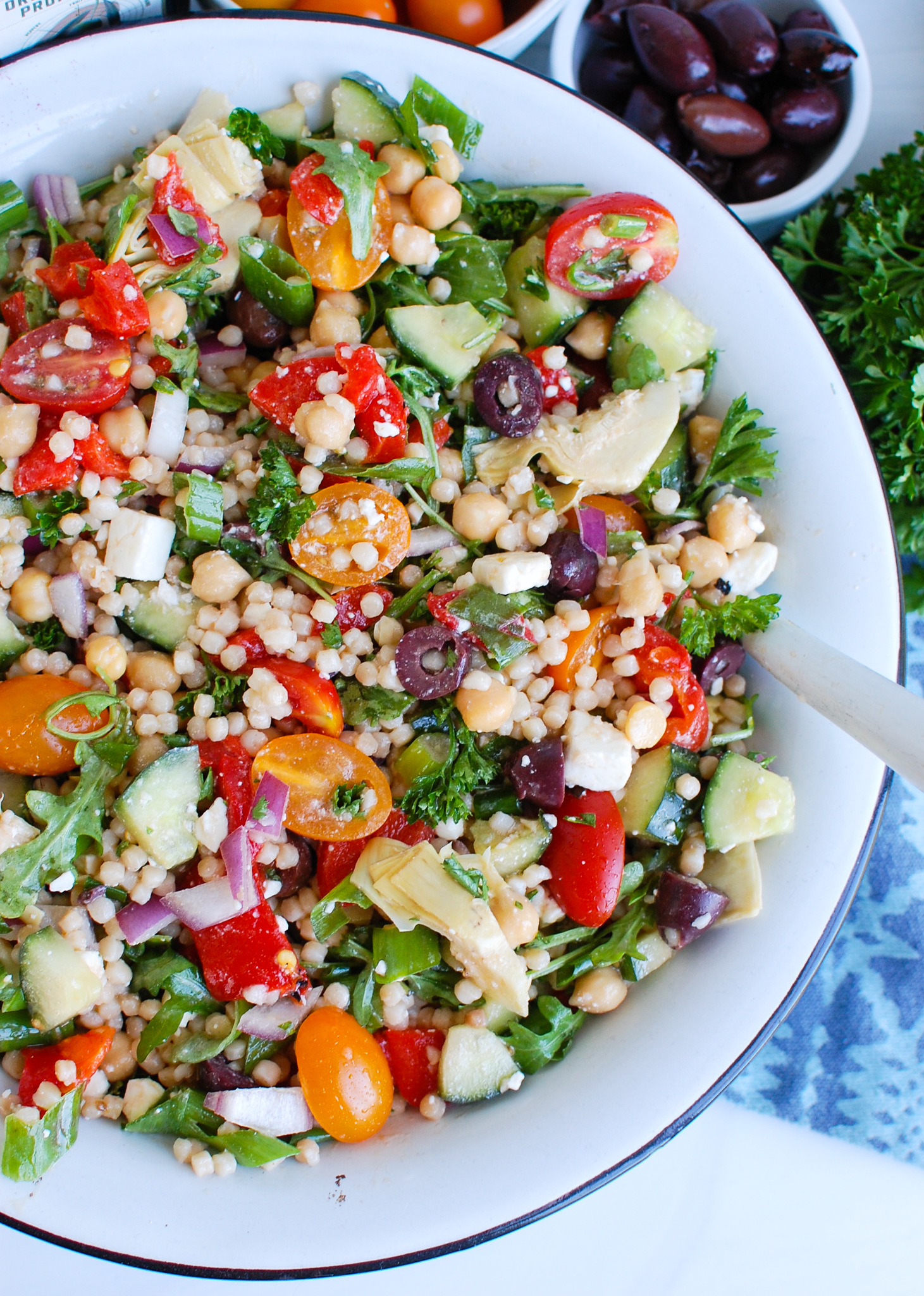 Mediterranean Couscous Salad white bowl
