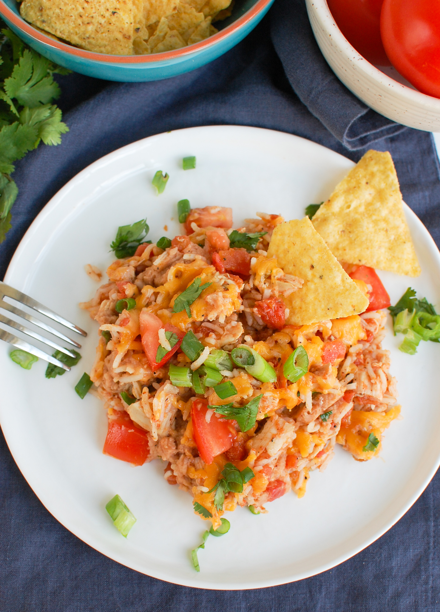 Mexican Chicken Casserole on white plate