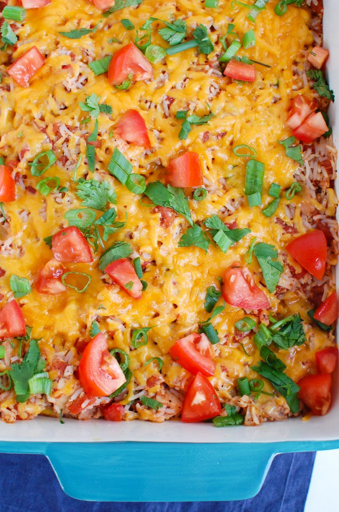 Mexican Chicken Casserole in a teal dish