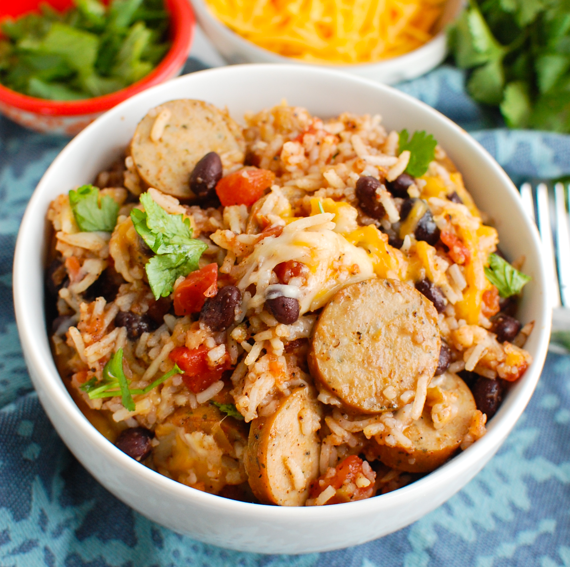 Sausage and Bean Casserole in a white bowl