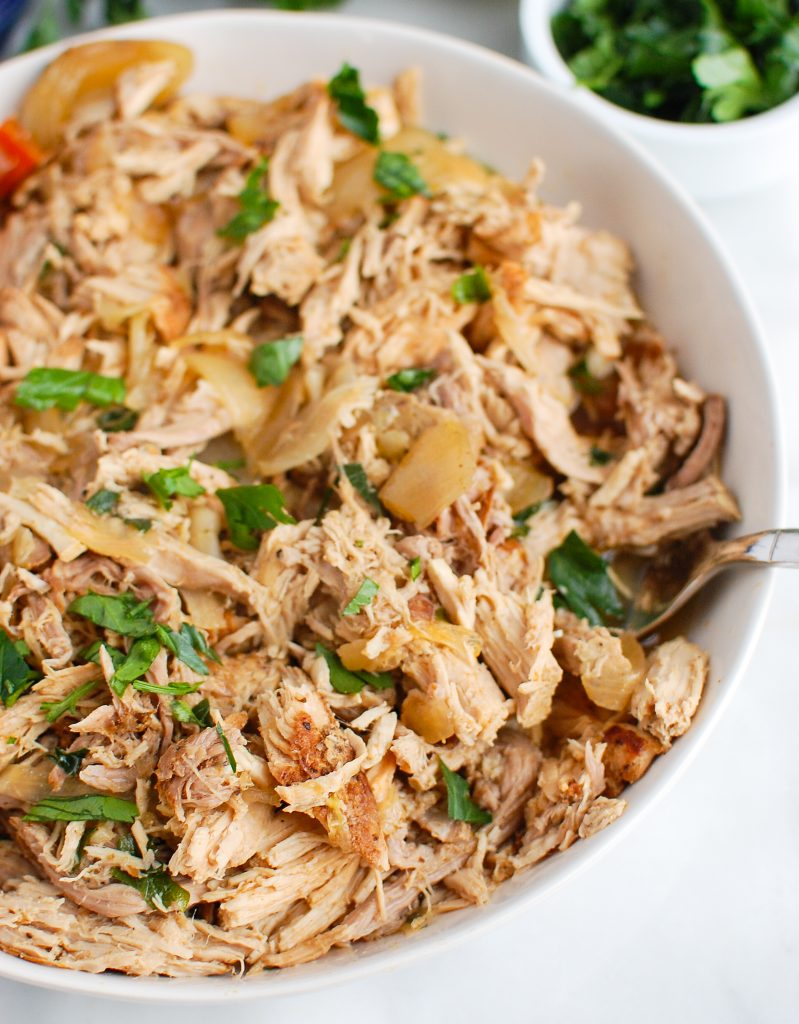 Slow Cooker Pork Roast shredded in a bowl