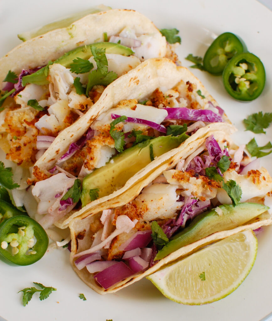 Easy Cod Fish Tacos on white plate