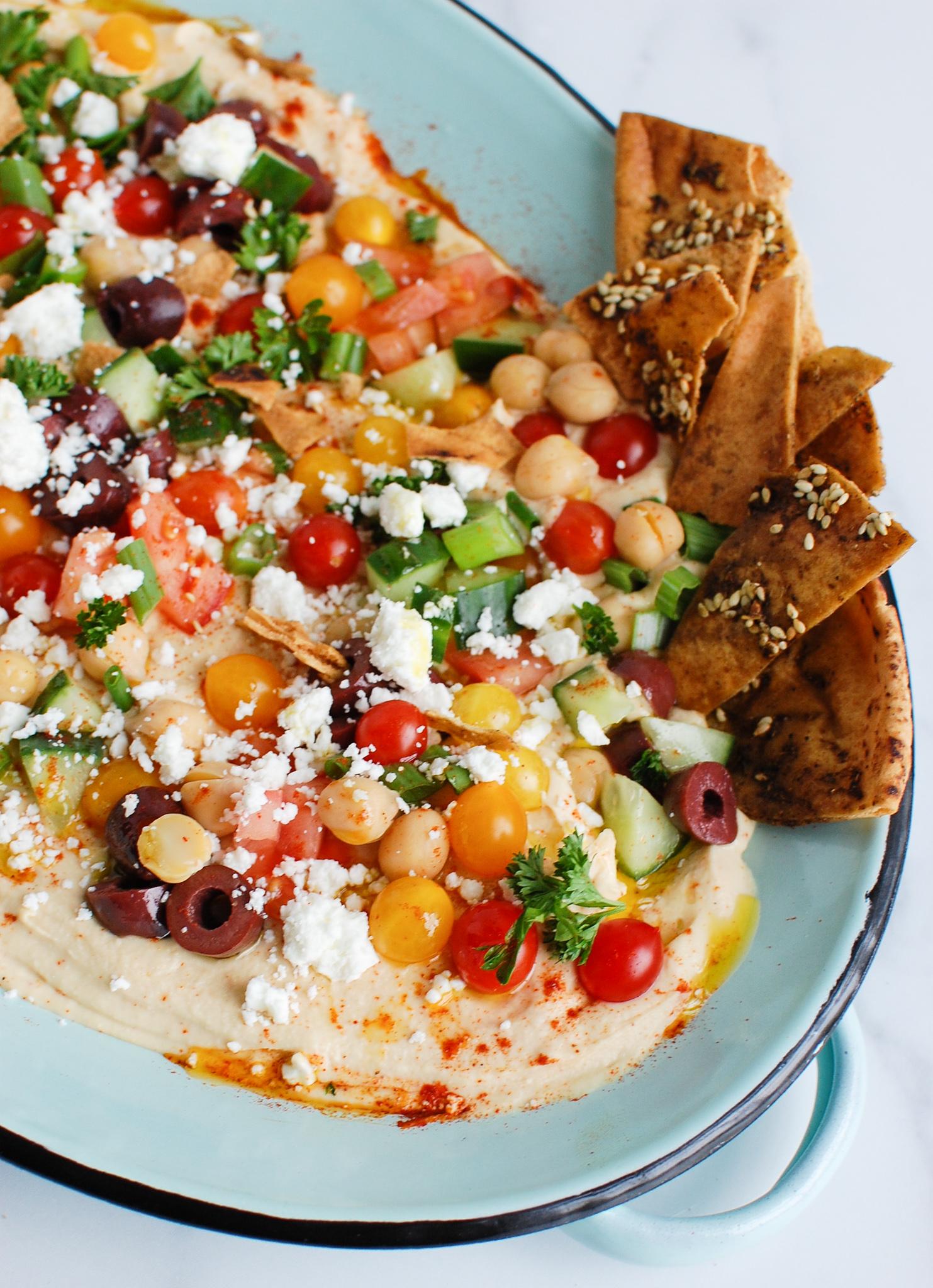 Hummus Platter on teal plate
