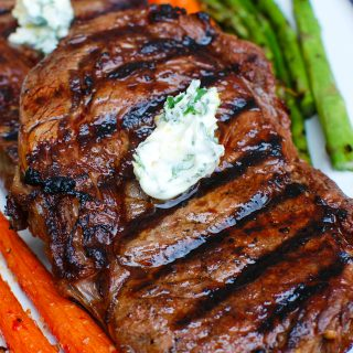Lemon Garlic Butter Grilled Ribeye on a plate