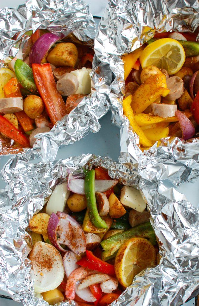 Sausage and Shrimp Foil Packets in foil