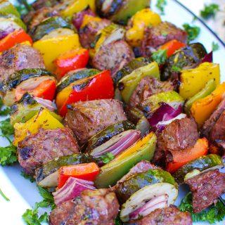 Mediterranean Beef Kabobs on white plate