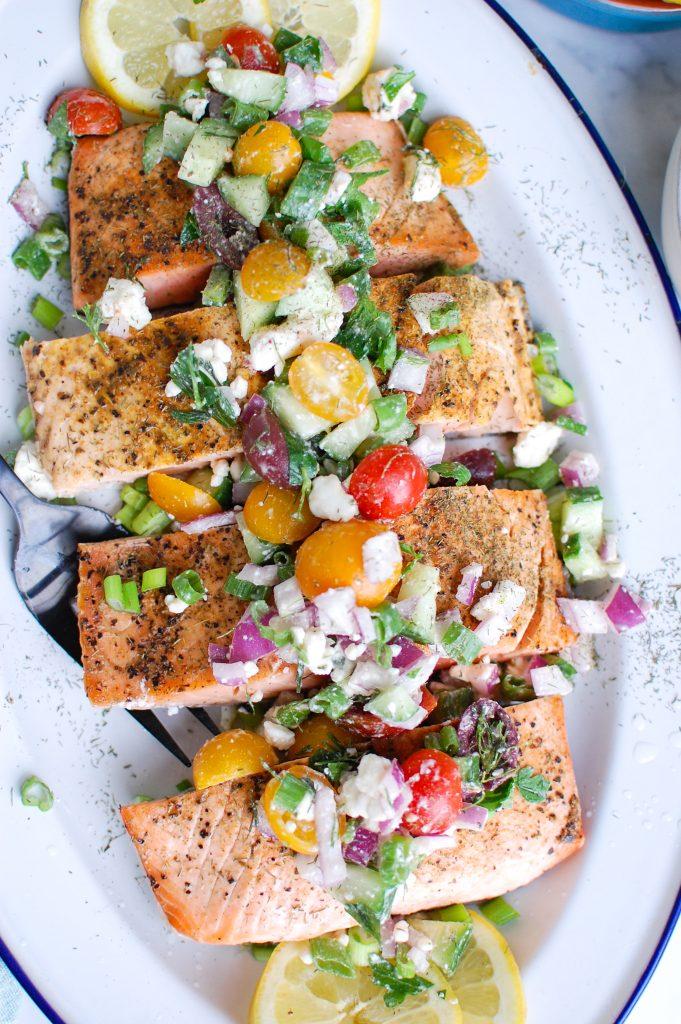 Mediterranean Salmon on white platter
