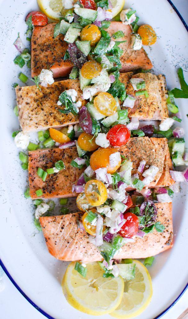 Mediterranean Salmon with feta cheese