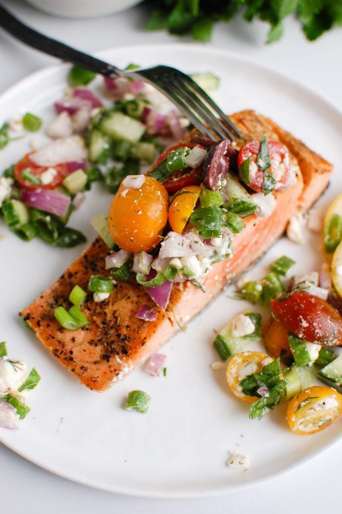 Mediterranean Salmon on a white plate