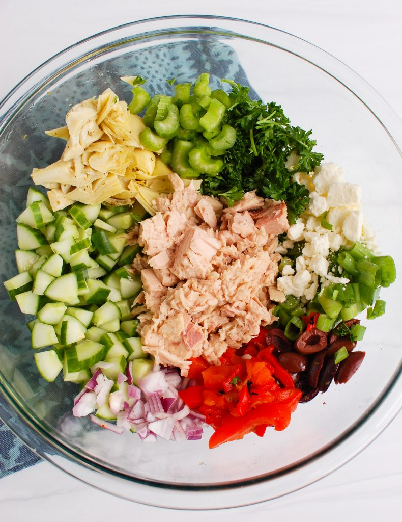 Mediterranean Tuna Salad ingredients