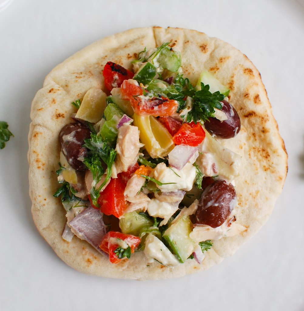 Mediterranean Tuna Salad on pita