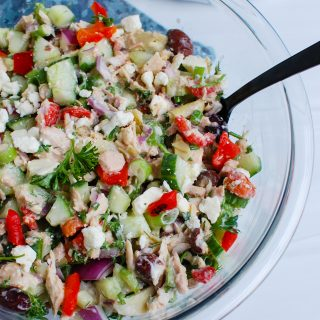 Mediterranean Tuna Salad with spoon