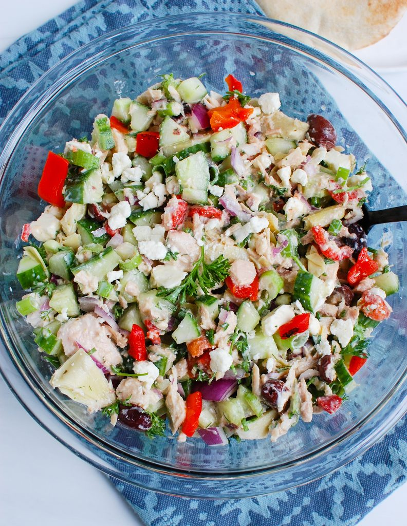 Mediterranean Tuna Salad with blue napkin