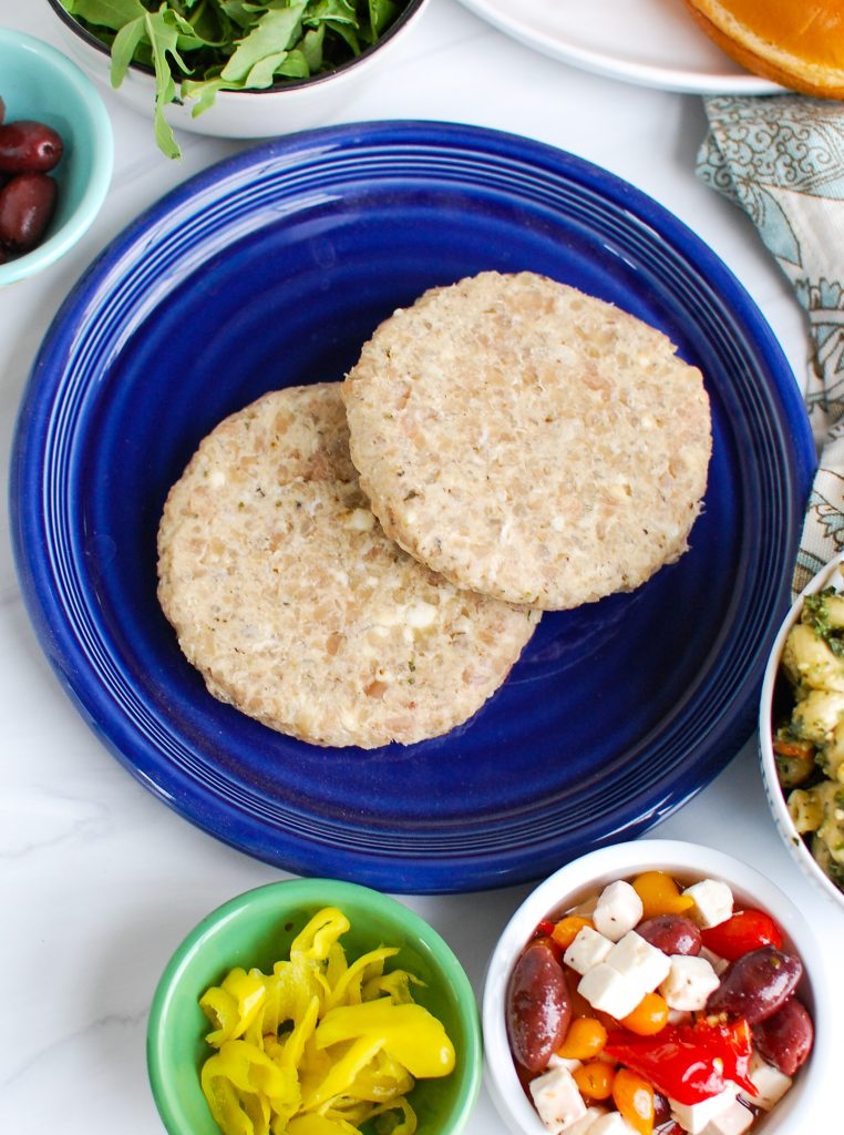Greek Chicken Burgers with toppings