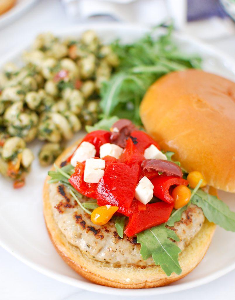 Greek Chicken Burgers on bun