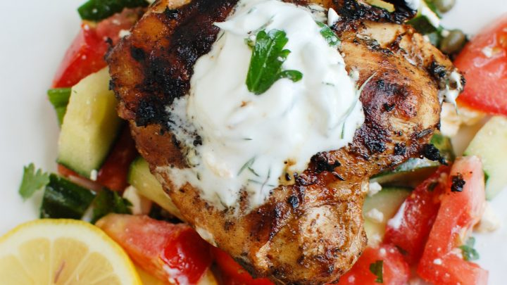 Greek Marinated Chicken with Tzatziki with yogurt on top