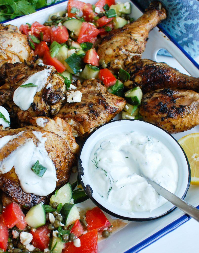 Greek Marinated Chicken with Tzatziki with yogurt sauce