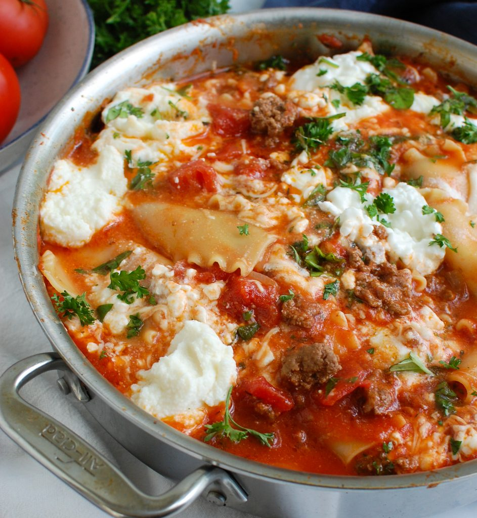 Skillet Beef Lasagna with cheese