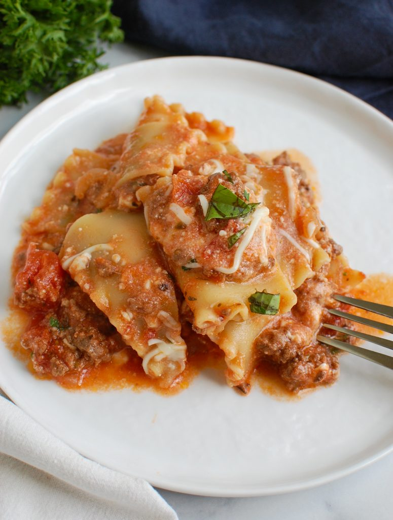Skillet Beef Lasagna on a plate