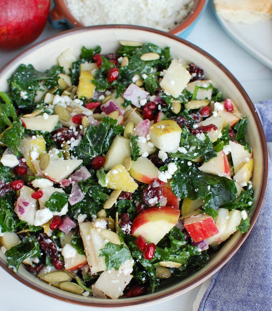 Easy Fall Salad with pomegranate seeds