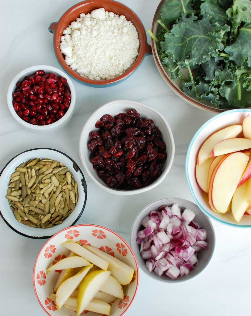 Easy Fall Salad ingredients on white board
