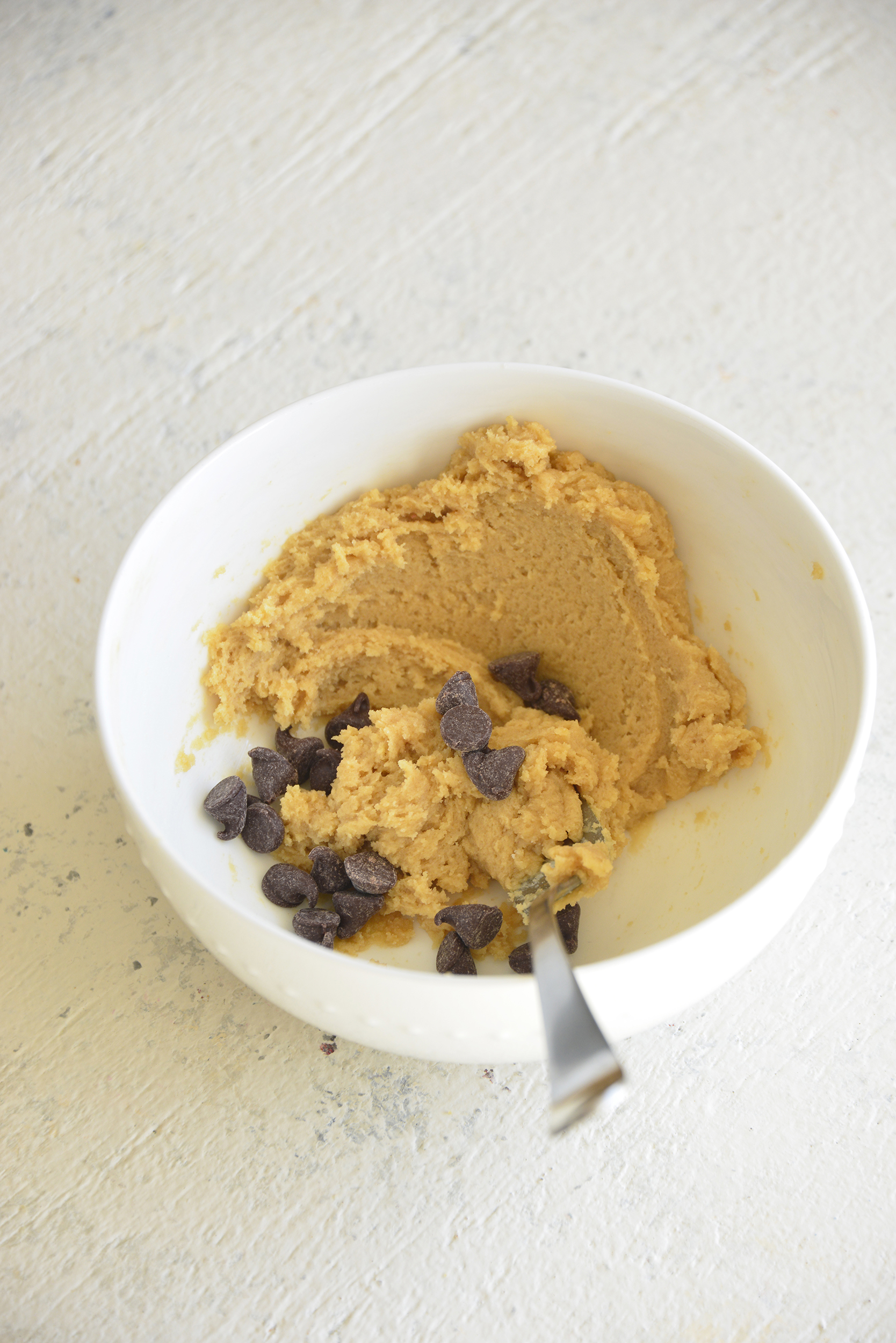 Edible Cookie Dough for One with spoon.