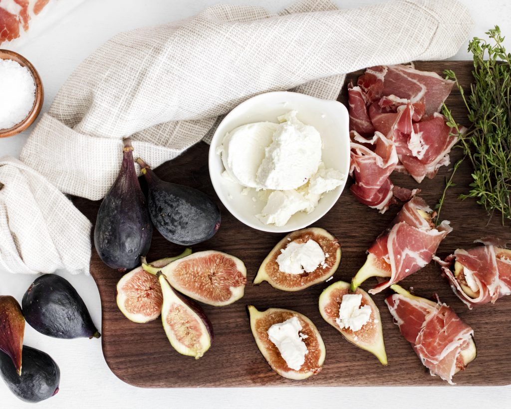 Goat Cheese Figs Wrapped in Prosciutto with goat cheese