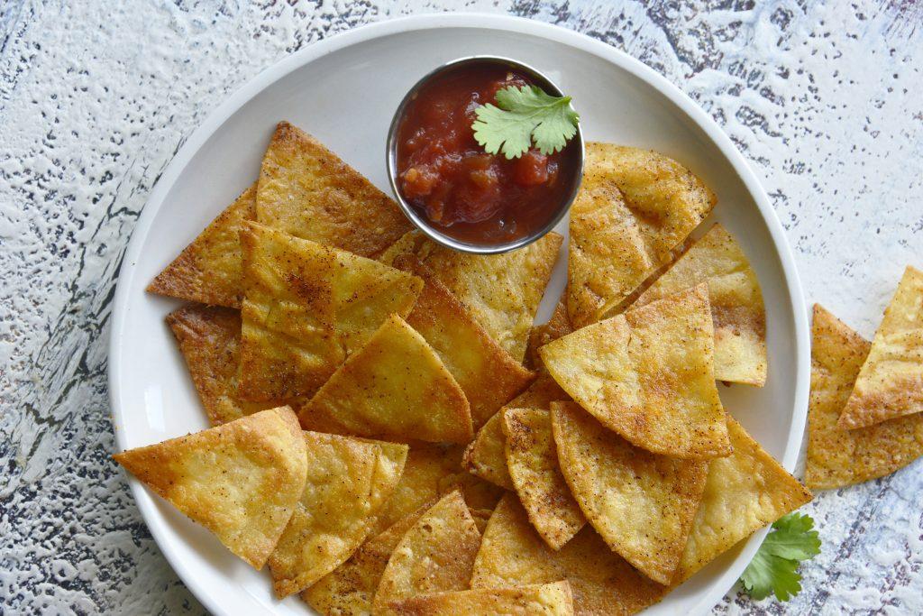 Homemade Baked Tortilla Chips above