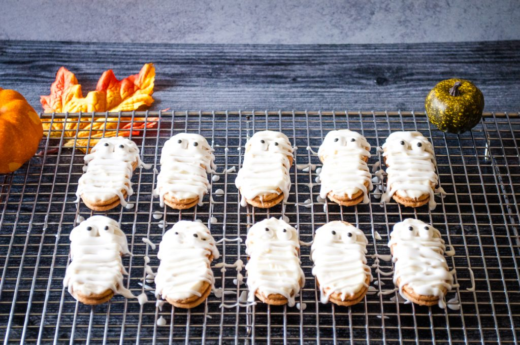 Mummy Cookies on rack