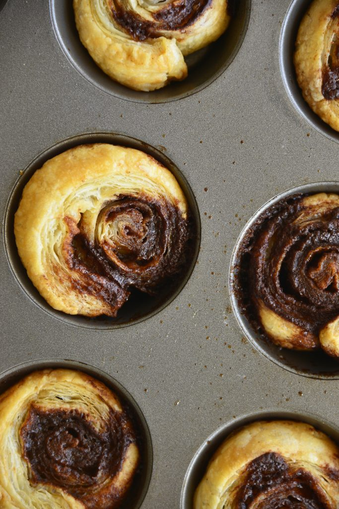 Puff Pastry Cinnamon Swirls in tin