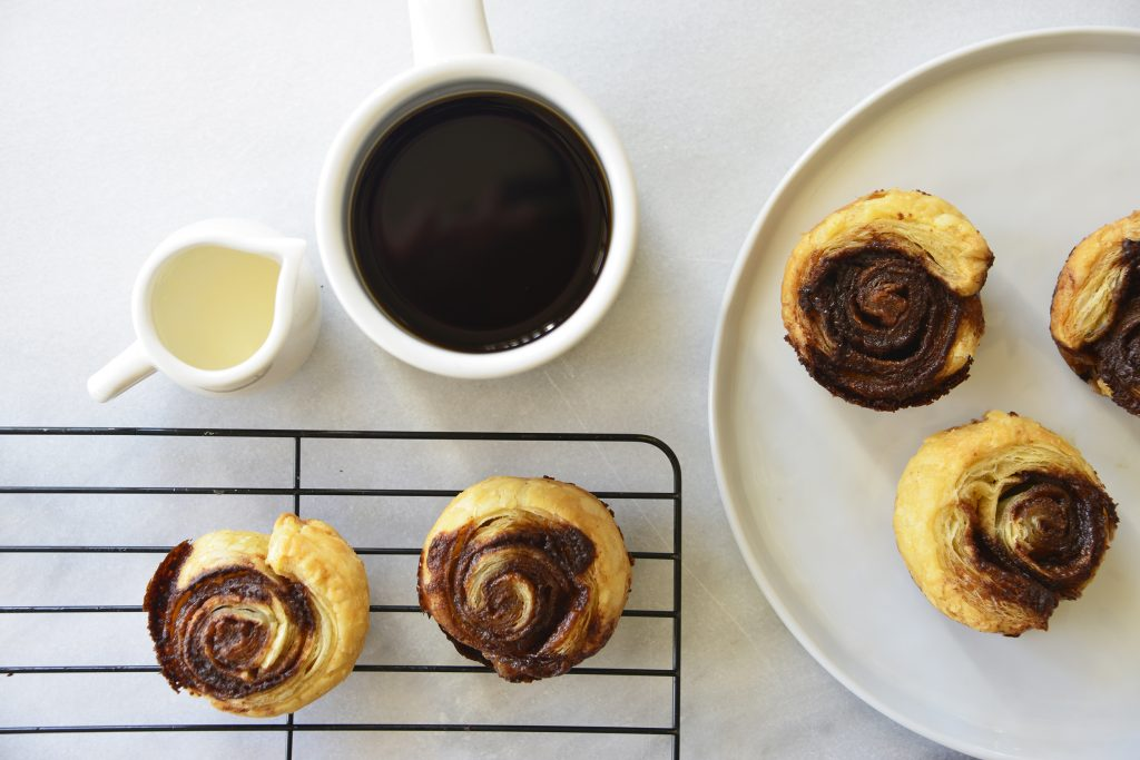 Puff Pastry Cinnamon Swirls with coffee