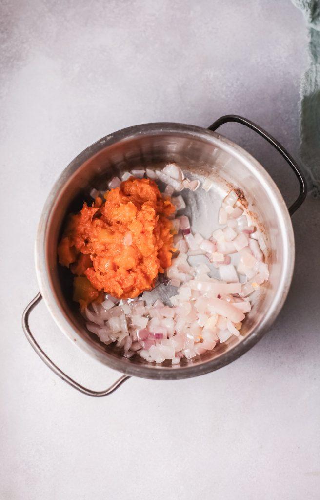 Pumpkin Ravioli with onions
