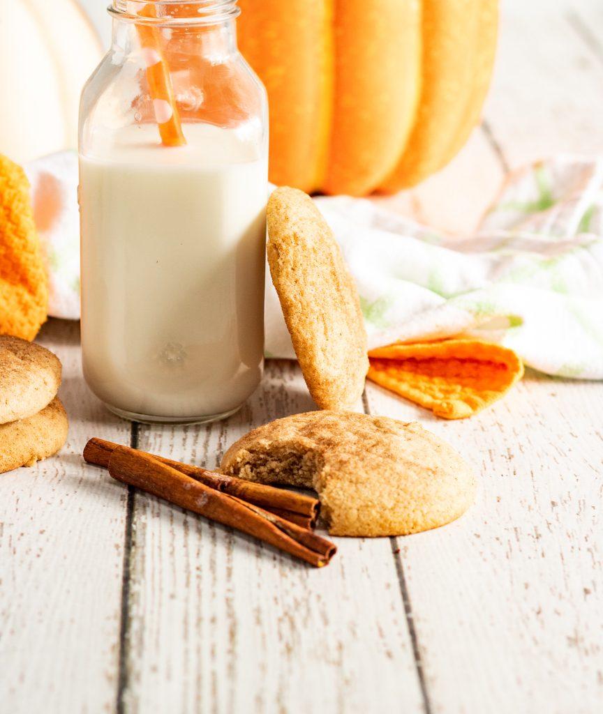 Pumpkin Snickerdoodles with milk