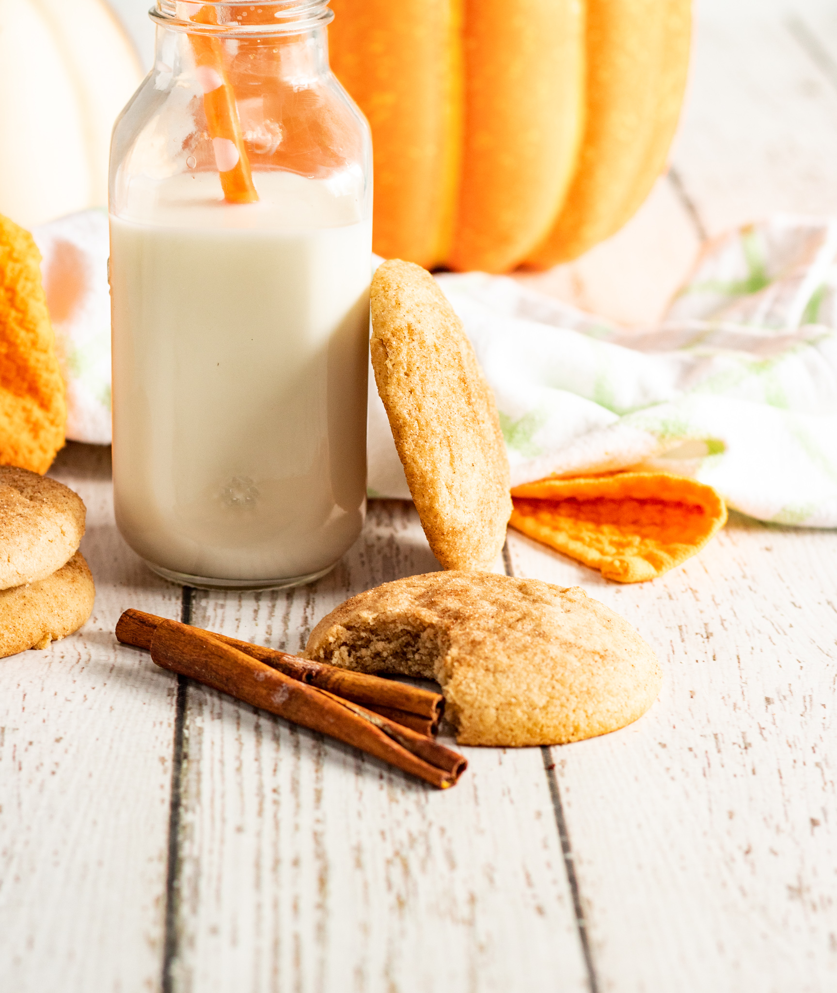Pumpkin Snickerdoodles with milk