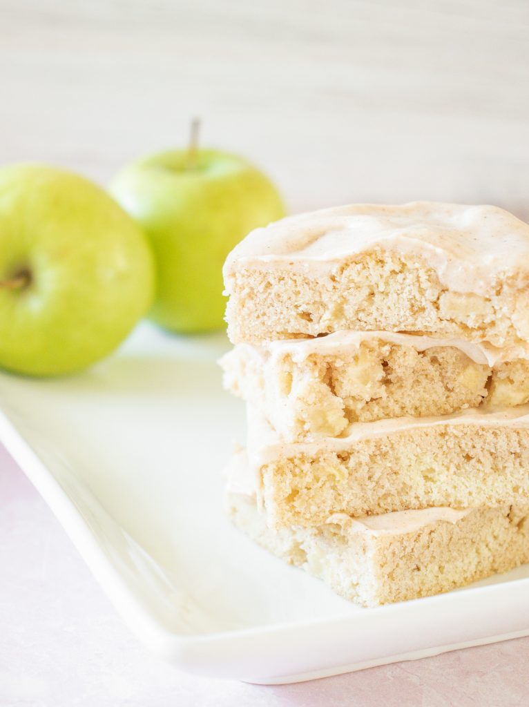 Apple Bars with Pumpkin Pie Spice Icing on plate
