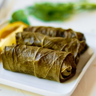 Stuffed Grape Leaves on white plate