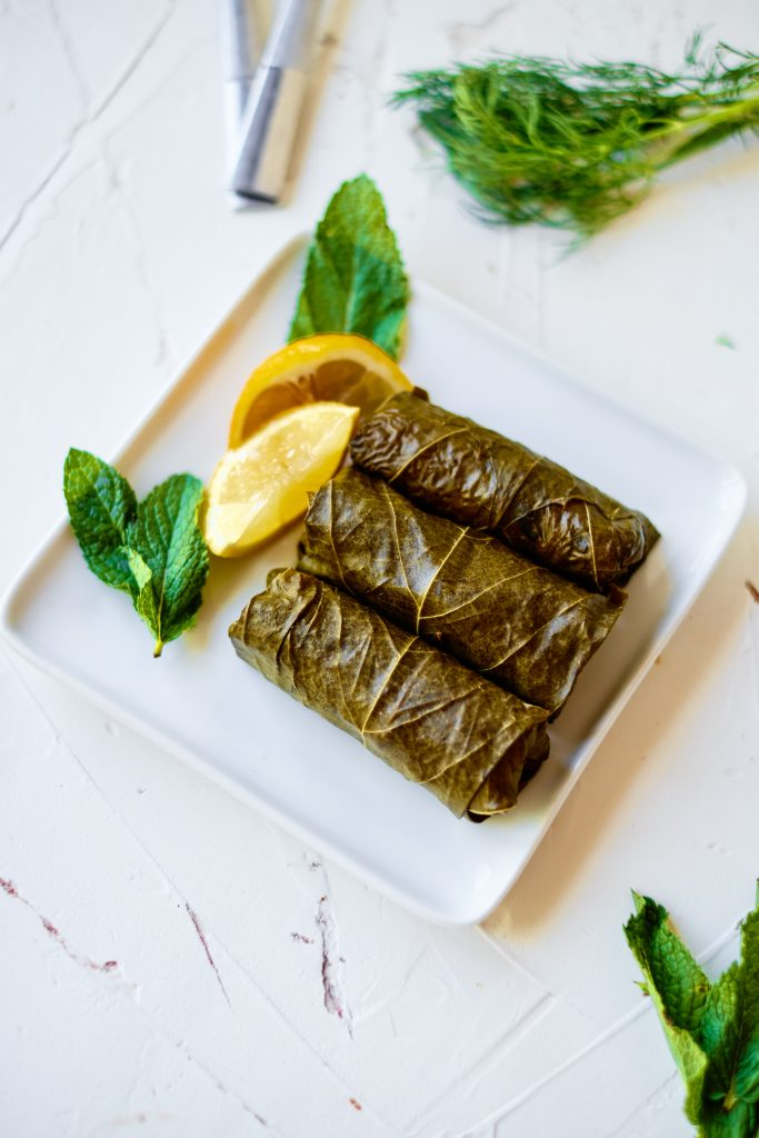 Stuffed Grape Leaves with lemon