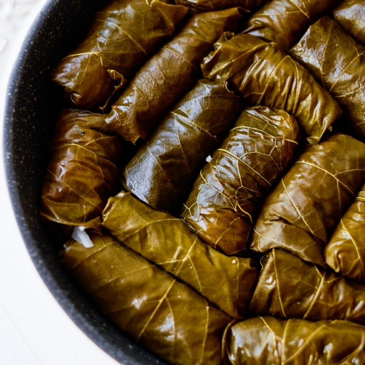 Stuffed Grape Leaves in Pot